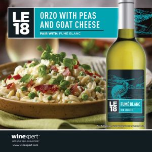 LE18 Fumé Blanc Orzo with Peas and Goat Cheese